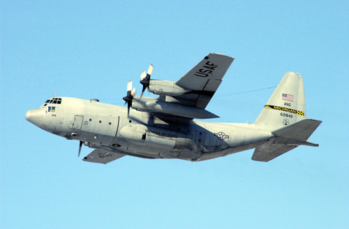 A US Air Force (USAF) C-130 Hercules aircraft from the 127th Wing, Michigan Air National Guard (ANG) shortly after take off at Selfridge ANGB, Michigan (MI), during a training mission in support of Operation NOBLE EAGLE.